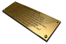 "6"" x 2"" Bench Plaque/Plate. Deep Engraving in Solid Brass. Free Delivery"