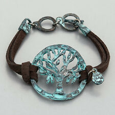 Brown Leather Patina Tree Of Life Design Religiously Inspired Vintage Bracelet
