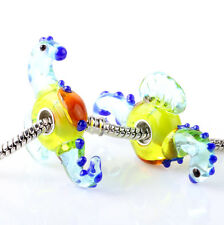 1pcs SILVER MURANO GLASS BEAD LAMPWORK Animal fit European Charm Bracelet ZZS303