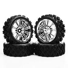 For RC 1:10 Rally Racing Off Road Car Rubber Tyre Wheel Rims 3MC+PP0487 4PCS