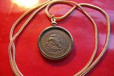 """1944 Bronze Mexican Classic COIN PENDANT on a 28"""" Gold Filled Rope Chain  28mm"""