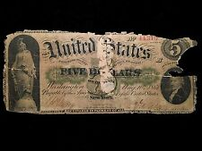 1861 $5 Demand Note Bill Currency Legal Tender Very Good Details Ultra Rare Type
