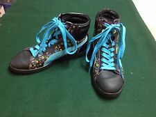girls Puma first round UK size 3 1/2 star high top sneakers first round leather