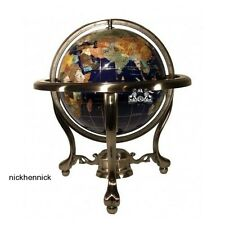"World Globe 13"" Atlas Ocean Map w Silver Tripod Stand Hand Crafted Stone Jewels"