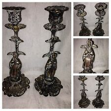 Antique paire baroque bronze figure d'un chandelier détenteurs de stands de france