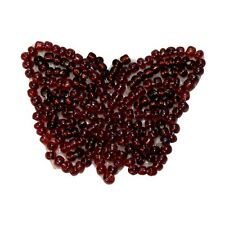 ID 8928 Dark Red Butterfly Garden Bug Insect Beaded Iron On Applique Patch