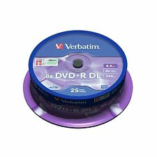 100 VERBATIM PRINTABLE Dual Layer DVD+R DL 8x doppio strato BLANK DISC 8,5 GB