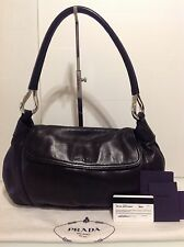 Authentic Prada Shoulder Clutch Bag. Black Leather. Card & Dustbag. Ex Cond.