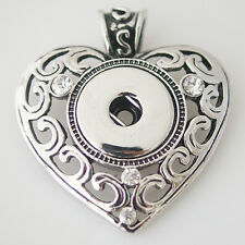 SNAP PENDANT Heart Necklace Interchangeable Button 18mm Fits Ginger Snaps