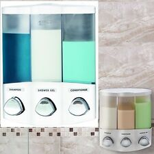 Soap Shower Dispenser 3 Chamber Refillable Pump Shampoo Conditioner Wall Corner