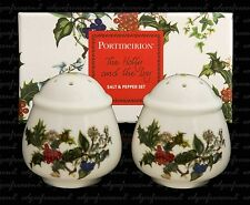 PORTMEIRION HOLLY AND IVY SALT AND PEPPER CRUET SET BOXED