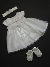 Baby Girls Ivory Diamante Christening Dress Headband Shoes 3/6 Months