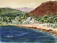 """""""Chapala, Mexico"""" 5x7 double-matted Watercolor Art Print by artist, Julie Hammer"""
