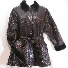Vtg Kenn Sporn Wippette Brown Rain Jacket Coat Women Size XL 2XL Faux Fur Trim