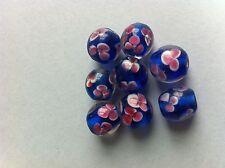 4 perles verre bleu rose transparent fleur lampwork creation bijoux collier 12mm