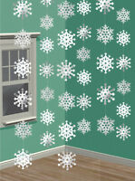 6 x Hanging Snowflakes Strings Christmas Snowflake Party Decorations FREE P&P