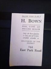 Ephemera 1930 Advert Leicester H Bown East Park Road Poultry Dealer M1715