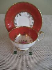 Vintage Aynsley English Footed Tea Cup & Saucer Pattern # C1515 Gold Scrolls