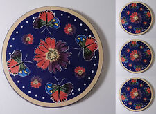 "4 X Butterfly & Flowers Blue Tin Metal Stove Top Burner Covers 8.5"" Round Set"