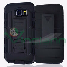 Custodia cover SLIDING RUGGED per Samsung Galaxy S6 G920F case clip cintura NERA