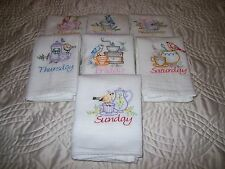 Tea Time Birds-Days of the Week.Embroidered Kitchen Towel Set