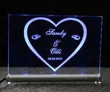 Leuchtschild Herz + Ringe mit Gravur Ihrer Namen + Datum Hochzeit Hochzeitstag
