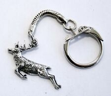 Springing Stag Key-ring (keychain) in Fine English Pewter, Handmade (tsH)Keyring