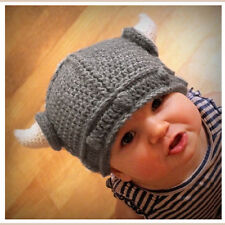 Kids Infant Handmade Crochet Winter Hat Kid Viking Horns Knitted Beanie Hat