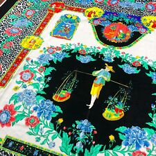 vintage GIANNI VERSACE velvet fabric panel the Chinese Gardener print black 55""