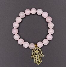 Antique Gold Hamza Hand and Rose Quartz Natural Gemstone Beaded Bracelet