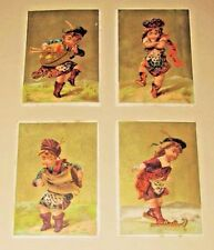 LOT~4 ANTIQUE 1880s TRADE CARDS Scottish Irish DANCERS Children KILTS Bagpipes