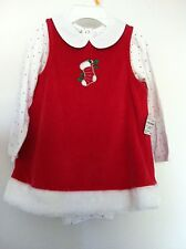First Impressions Infant Girls Red Velour Dress Stocking Fur Trim Size 3-6M NWT