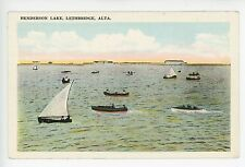 Tons of Boats on HENDERSON LAKE Lethbridge ALBERTA Antique PC ca. 1920s