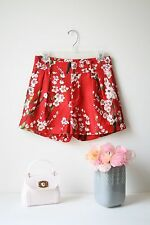 Pleated Red Floral Print Silk Blend Shorts Size M High Waisted Non Branded