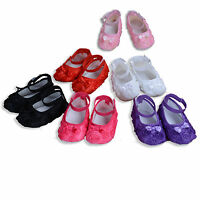 Baby Girls Flower Shoes in White Pink Hot Pink Purple Red Black 6 9 12 15 Months
