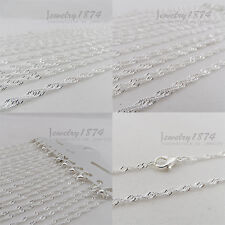 12Pcs Wholesale New Clasp Waves FINE PLATING SILVER CHAIN NECKLACE
