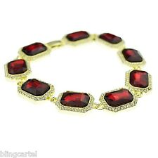 "Red Ruby Gold Tone Iced-Out Rubies Hip Hop Stone Bling Bracelet Men's 9"" Inch"