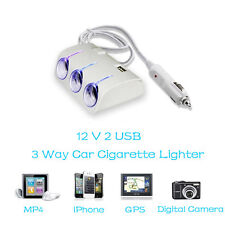 3 Way Multi Socket Car Cigarette Lighter USB Plug Charger Adaptor DC 12V 24V