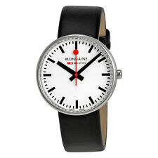 Mondaine Mini Giant White Dial Black Leather Unisex Watch A763.30362.11SBB