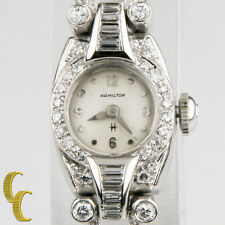 14k White Gold Diamond Vintage Hamilton Ladies Hand-Winding Watch Safety Chain