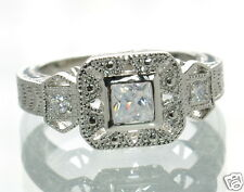 Solid 925 Sterling Silver CZ Vintage Style Princess Cut Engagement Ring Size-8 '
