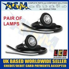PAIR of LED 181WME Trailer Round Front Marker Lights / Lamps WHITE 12 / 24 Volt