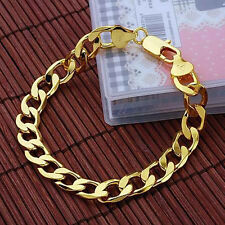 18K Yellow Gold Filled Men's/Women's Bracelet 8inch Charms Link 8mm Curb Chain
