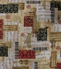 ALL THAT JAZZ MUSIC PIANO HARP PATCHWORK FABRIC