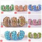 5pcs 12mm Rhinestone Silver Plated Murano Charm Loose Big Hole Beads Mixed Color
