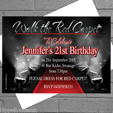 Hollywood Red Carpet Themed Adult/Kids Birthday Party Invitesx 12+envs H0042