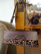 Coccinelle Pink Leather And Fake Fur Small Handbag/Clutch Evening Bag