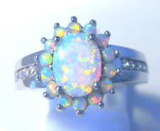"""GORGEOUS WHITE  FIRE OPAL  RING UK Size """"P"""" US  8"""