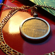 "1996 Centennial Italian 200 Lire Golden Brass Pendant on a 30"" Gold Plated Chain"