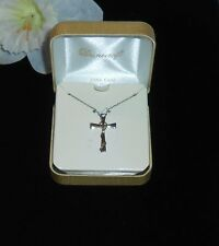 Danecraft 24K Gold Over 925 Sterling Silver Cross & Chain NEW